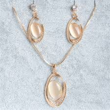 white gold filled necklace images Shuangr 1set gold filled white crystal oval opal stone women 39 s jpg