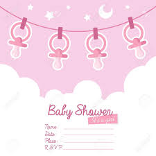 Babyshower Invitation Cards Cute Pink Baby Shower Invitation Card For Girls With Pacifiers