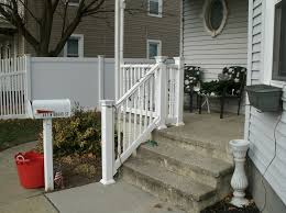 Front Steps Design Ideas Accessories Top Notch Concrete Steps With White Wooden Hand Rails