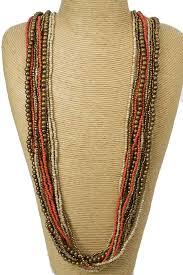 long orange necklace images Long bronze orange cream bead necklace long beaded necklace jpg