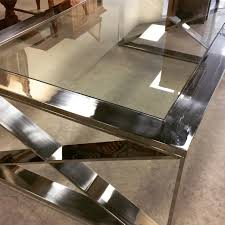 Criss Cross Coffee Table 32 X 54 Stainless Glass Criss Cross Coffee Table
