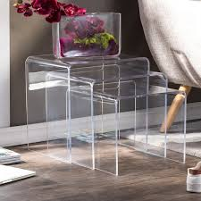 set of three end tables acrylic nesting end tables set of 3 living room idea board