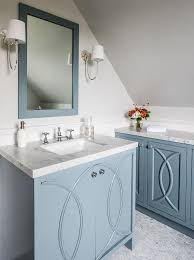 Blue Bathroom Vanity Cabinet Blue Washstand With Eclipse Cabinet Doors Transitional Bathroom