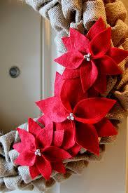 diy tutorial burlap poinsettia wreath see craft