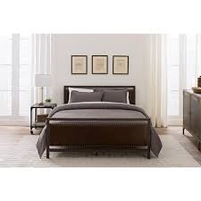 dhp vintage bronze full size metal and upholstered bed 4098229