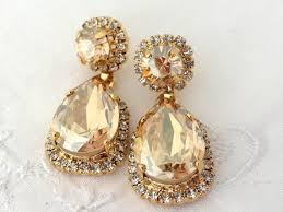 gold bridal earrings chandelier chagne bridal chandelier earrings chagne by eldortinajewelry