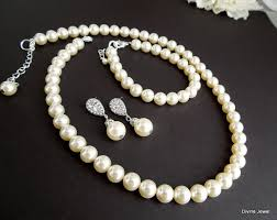 pearls necklace set images Bridal pearl necklace set ivory swarovski pearls bridal jpg