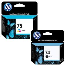 Top Kit Cartuchos HP74 HP75 HP 74 75 CB335WL Preto e colorido para  #WA91