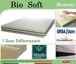 materasso in waterlily materasso memory mod bio soft singolo da cm 80 zone differenziate