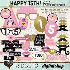 printable girly photo booth props photo booth props happy 15th birthday girl printable sheets