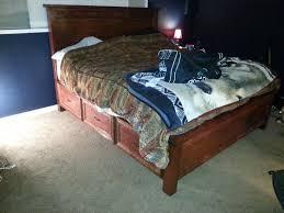Storage Bed Diy Ana White King Sized Farmhouse Storage Bed With Storage Drawers