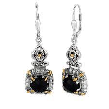 black onyx earrings 18k yellow gold sterling silver oxidized black onyx byzantine