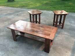 red oak colored coffee table and end chairs pine main