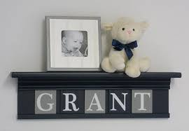 baby name plates navy shelf with grey and navy blue wall letters