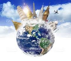 traveling around the world images Travel around the world with famous places and monuments stock