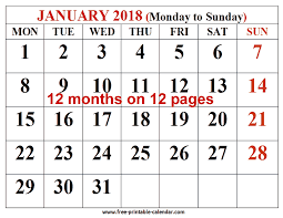 printable calendar large print free printable calendar 2018 for free download 12 month 2018