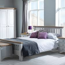 hutch buxton light grey painted 4ft 6 double bed frame