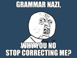 Grammer Nazi Meme - grammar nazi y u no stop correcting me grammar nazi know your meme