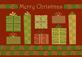 red and green gifts african american box of 18 christmas cards by