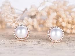 pearl studs akoya pearl earrings solid 14k gold pear studs halo diamond