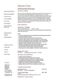 relationship manager resume account management cv job