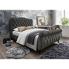 Grey Sleigh Bed Inland Empire Furniture S Hudson Grey Velvet King