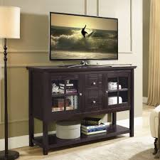 tv stand glass doors dark brown painted solid wood tall tv stand for bedroom using