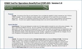 operations benefit cost analysis tops bc user u0027s manual chapter 5