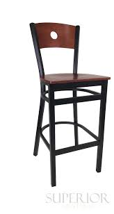 black metal commercial bar stool with walnut veneer seat and