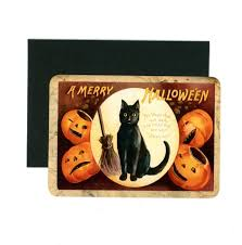 halloween cards black cat jack o lantern flat cards vintage