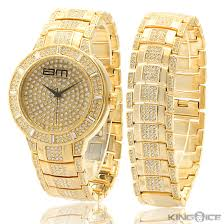 gold bracelet mens watches images Mens gold watch and bracelet set diamondstud jpg