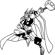 marvels avengers thor cartoon coloring page wecoloringpage