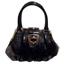 alexander mcqueen black patent leather wishbone hobo bag rare at