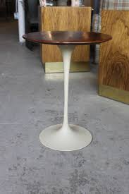 vintage knoll saarinen tulip walnut wood top side table at 1stdibs