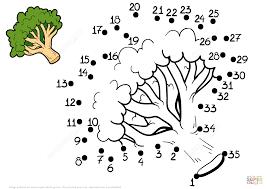 broccoli dot to dot free printable coloring pages