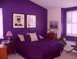 bedroom simple room decoration in purple colour bedroom