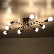Wrought Iron Ceiling Lights 4 6 8 Heads Rod Wrought Iron Ceiling Light Retro