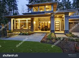 luxurious new construction home exterior front stock photo