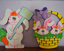 Metal Easter Yard Decorations by Easter Bunny Yard Art Signs Easter Basket Full Of Bunnies