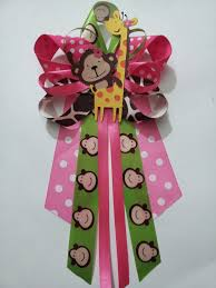 jungle theme monkey and giraffe baby shower pin corsage