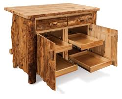 amish rustic aspen kitchen island bar