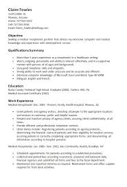 Sample Resume For Healthcare Assistant by Sample Medical Receptionist Resume Haadyaooverbayresort Com