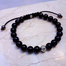 mens bracelet with stones images Men 39 s nylon black onyx stone bracelet 8mm stones stoneheart jpg