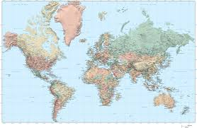 Mercator World Map by Digital Adobe Illustrator World Map With High Res Grayscale