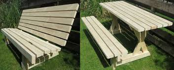 Plans For Picnic Table With Attached Benches by Picnic Table And Bench 2 In 1 7 Steps With Pictures