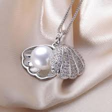 pearl pendant necklace silver images Zircon shell pearl jewelry pearl pendant necklace freshwater pearl jpg
