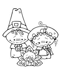 two pilgrim on thanksgiving day coloring page