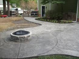 Textured Concrete Patio by Stamped Concrete Patio Firepit Otg On The Go Custom Concrete