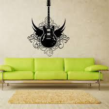 Guitar Home Decor Aliexpress Com Buy E149 Design Art Rock Angel Wings Rock Guitar