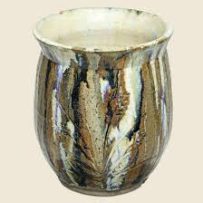 vintage drip glaze l mid century hand thrown studio pottery tall flare neck vase with dri